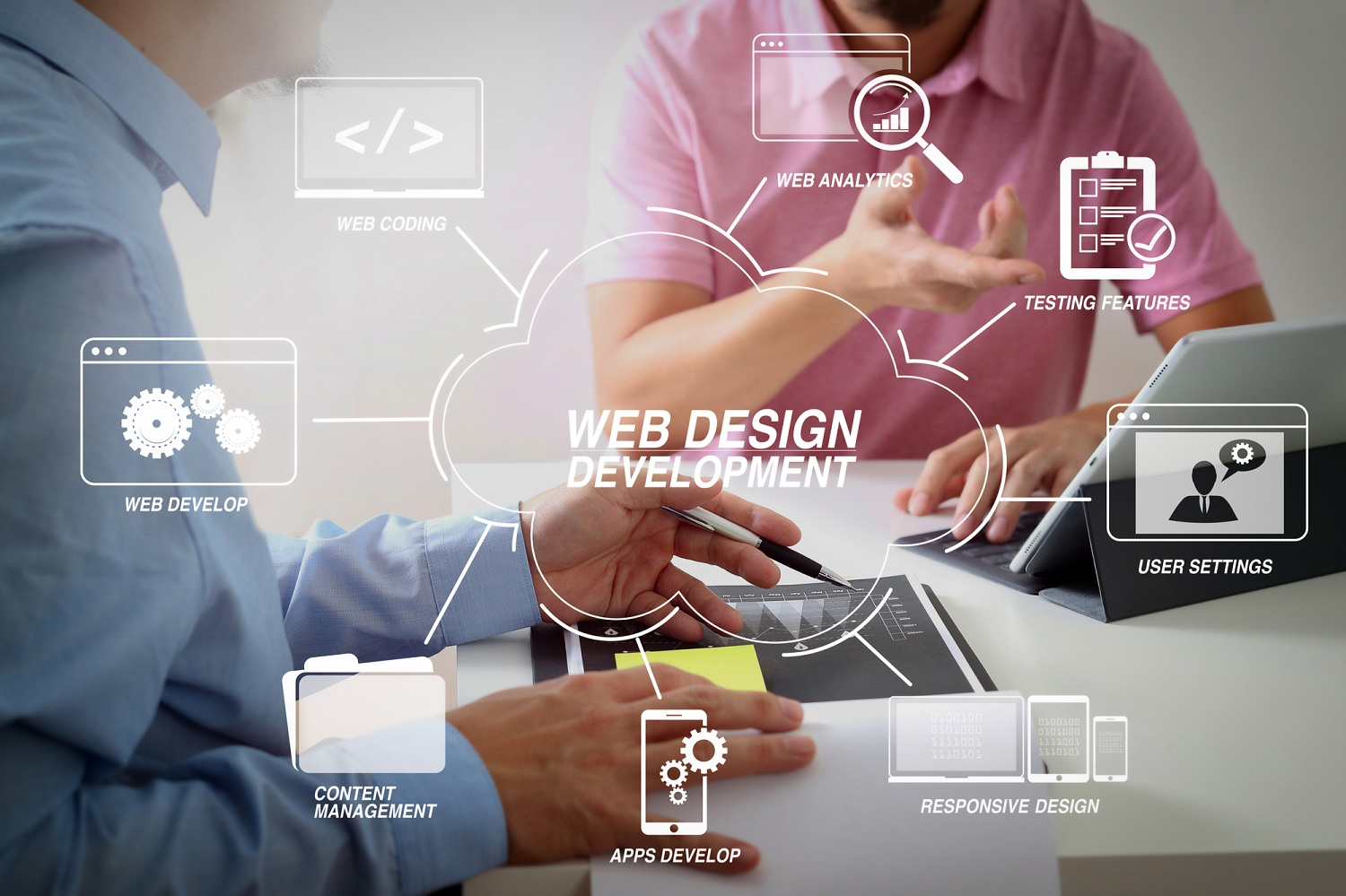 Businessmen-working-together-on-a-document-and-using-smart-phone-and-digital-tablet-and-laptop-computer-with-Website-design-in-virtual-diagram-Infintech-Designs