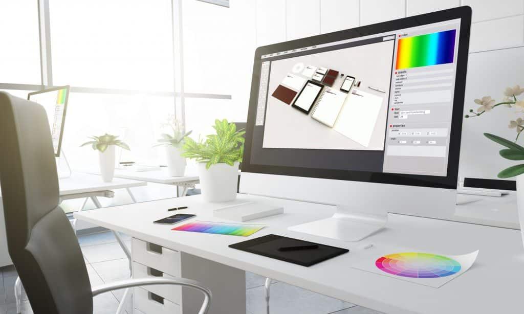Graphic design on computer screen - Infintech Designs