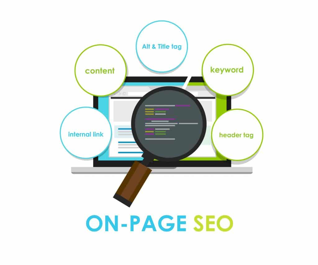 On-page SEO Search Engine Optimization illustration - Infintech Designs