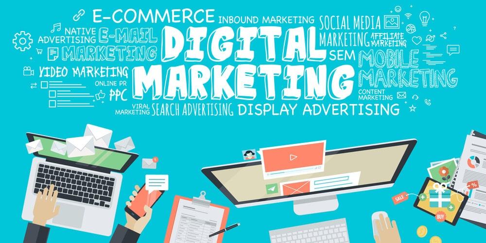 Flat design illustration concept for digital marketing - Infintech Designs